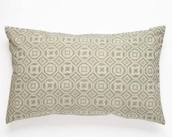 Karo Handscreen Printed Cushion Cover - Sea Grey  30x50cm