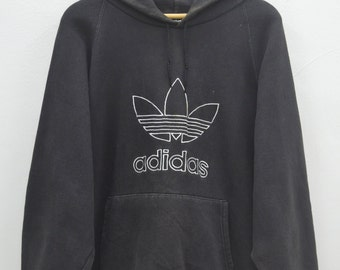 ADIDAS Distressed Hoodies Vintage 90's Adidas Big Logo Spell Out Made In USA Sweater Sweatshirt Hoodies Size S