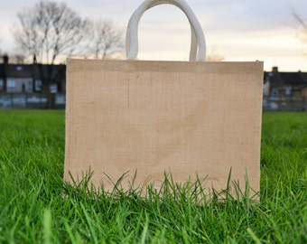 Large Plain Jute Hessian Shopping Bag with Luxury Padded Handles with Free Shipping/UK Stock/Best Quality
