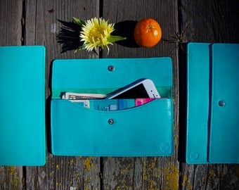 Mother  Mother's day Turquoise leather wallet Aqua women wallet  Blue  color iPhone 6 7 LUXURY Women leather wallet Gift For