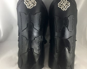 "Female ""Raven"" Black Leather Bracers - Part of The Raven custom armor set by Chair and Chisel"