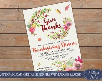 Thanksgiving Invitation Watecolor Thanksgiving Invitation Self Editable PDF Instant Download Dinner Invitation Thanksgiving printable Wreath