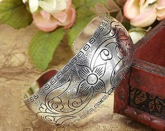 Tibetan bracelets, climbing vine silver arm cuff for women, upper - Nepal, tribal ethnic bangles. Boho hippie gypsy, engraved, gifts, her