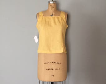 SALE...lemon yellow linen top | strappy linen crop top