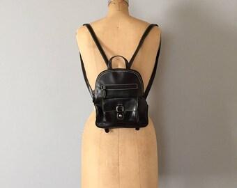 90s vegan backpack | small black stitched envelope pocket backpack