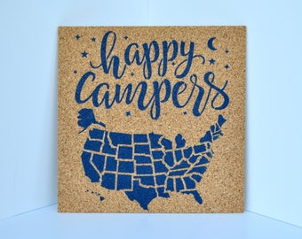 Happy Campers - Pinnable Cork Map of the USA - United States Travel Map / Bulletin Board / RV Camping Tracker