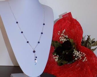 Necklace in 925, in amethyst and lapis lazuli