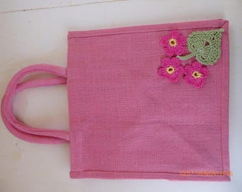 55.Pink Hessian Bag with Pink Flowers