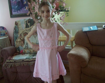 American Girl, Pretty-in-Pink Dress w/Embroidered Flowers, size 7