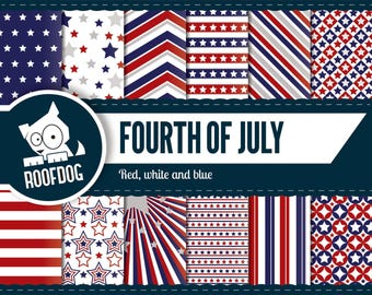 Fourth of July digital paper | red white blue independence day | digital paper pack instant download | USA patriotic stars & stripes america