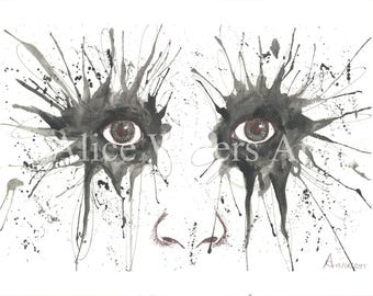 Watercolour Eyes Print A3