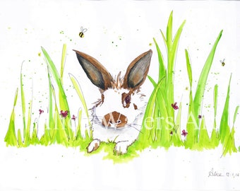 Watercolour of Dough the Bunny Print A3