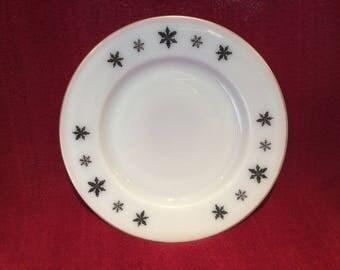 """Pyrex JAJ Gaiety Black Snowflake Salad or Side Plate 8.5"""" diameter"""