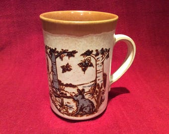 Ashdale Pottery Wolf, Hare and Butterfly Pattern Mug circa 1970