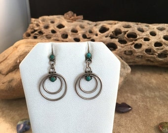 Spring Time Yet Vintage Navajo Turquoise and Sterling Silver Dangle Earrings