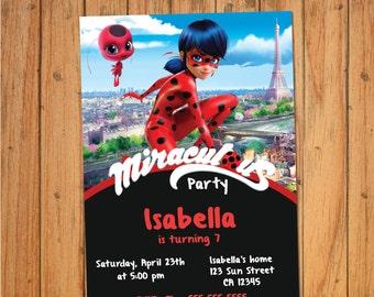 LADYBUG INVITATION, MIRACULOUS, Prodigious, Party, Ediatable Pdf