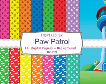 14 DIGITAL PAPERS + BACKGROUND  inspired by Paw Patrol, birthday