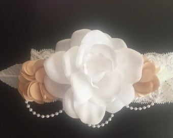 Baptism lace headband white and gold