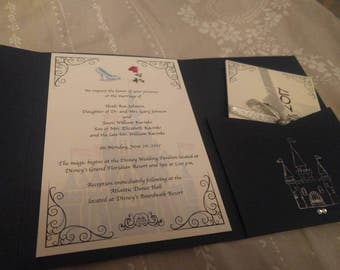 Disney Cinderella Fairytale Inspired Wedding Invitation / Party Invitation.  Personalised For Your Big Event.