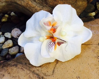Double white orchid tropical silk flower hair clip