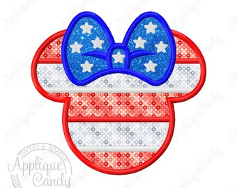Miss Mouse Flag Applique Machine Embroidery Design 4x4 5x7 6x10 7x7 8x8 Patriotic Military Star stripes fourth of July 4th INSTANT DOWNLOAD