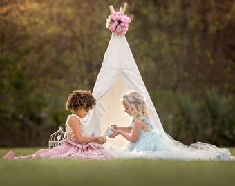 Kids Teepee, Teepee, girls teepee, lace teepee , teepee tent, canvas teepee, nursery decoroors, girl teepee, princess gift, baby girl  gift