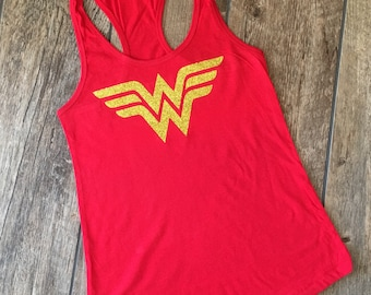 Wonderwoman shirt - READY TO SHIP Wonder Woman Tank Top - Wonder Woman Shirt with Gold Glitter Emblem  - Woman's tank - red - gift for mom