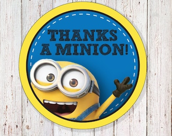 "Minion - 2"" Round Thank You Labels (INSTANT DOWNLOAD)"