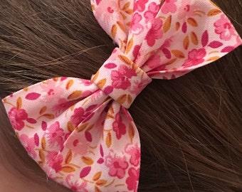 Pink Hair bow, Floral vintage hair bow, hair accessory, hair accessories, hair clip, childrens hair bow, kids hair piece, girls hairclip