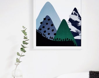 Illustrated Nursery Art Print - Mountain no. 1