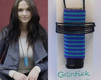 "Lighter chain ""Jasmin""-no searching, no losing-lighter necklace blue/turquoise, suede band Leather optics-handmade-festival"
