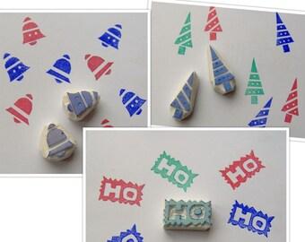Christmas stamps, set of 5, xmas stamp, rubber stamp, Christmas tree stamp, christmas bells stamp, ho ho ho stamp, santa clause stamp, diy