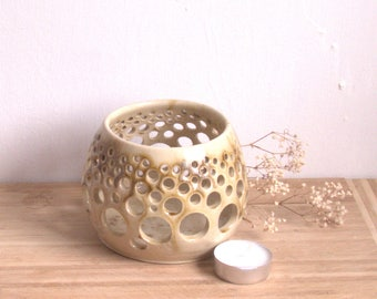 Ceramic Tea Light  holder   Candle Holder  Night light  Handmade Pottery  patio lantern  Ceramic Luminary // Wheel Thrown
