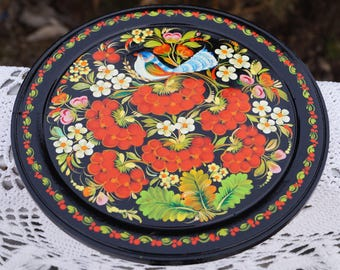 Wall decor plate Gift idea Gift for mother Folk art Wooden plate Hand painted plate Ukrainian plate Petrykivka plate Decorative plate