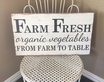 Farm Sign, Farmhouse Sign, Farm Fresh Sign, Rustic Sign, Distressed Sign, Fixer Upper Decor, Organic Sign