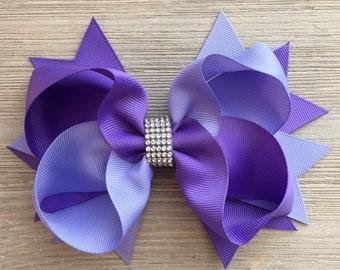 Rhinestone Purple Hair Bow, XXL Purple Hair Bow,  Jumbo Purple Hair Bow, Large Purple Hair Bow, Lilac Hair Bow, Ready to Ship!