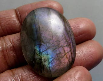 100% Natural Purple Labradorite Gemstone Oval Shape Labradorite Loose Gemstone Cab Pebble Palm  Labradorite Gemstone 37X27X6mm 51Ct B-0231-A