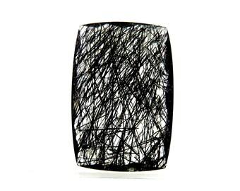 22Cts Black Rutile Rectangle Shape Briolite Cut Semi Precious Jewellery Making Black Rutile Gemstone 25X17X5mm B-1001