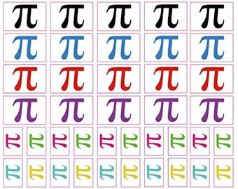 40 Stickers: Pi Symbol, Pi Day Math Party Favors, Decals