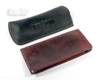 Vintage Leather Case For Glasses, Genuine Leather Case, Vintage Brown And Black Eye Glasses Holder, Vintage Bulgarian Genuine Leather Case