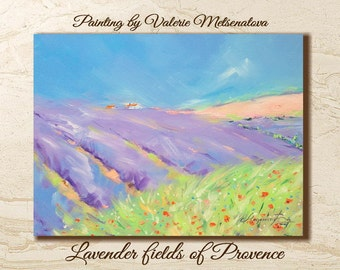 Lavender painting, Lavender fields, Oil painting, Original painting, Gift for her, Lavender Provence, Palette knife, Decor home, Provence