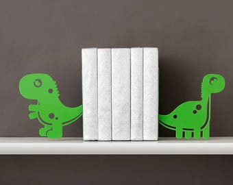 Dino book ends  Dinosaur bookends Kids bookends Nursery bookends Metal bookends Book shelf decor  - green