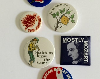 Vintage Button Pins, Vintage Pin Backs, Vintage Badges, Pin Back of th Arts, Opera, Ballet, Theatre, Music, Lot of 6 Pin Back Buttons