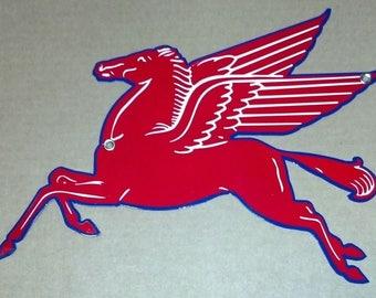 Mobilgas Pegasus Sign Blue Trim Faces Left Heavy Metal Sign  Home Garage Gas Station Decor 29''