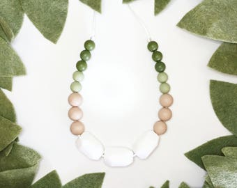 Teething Necklace | Nursing Necklace for Mom | New Mom Gift | Silicone Teething Necklace | Teething Jewelry | BPA Free |The Violet- Green