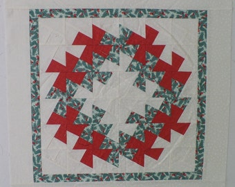Twister Wreath Unfinished Quilt Top- Wall Hanging- Wall Art