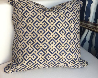 Decorative Pillows, Navy & Tan Outdoor Pillow with Geometric Pattern, 18x18, insert included