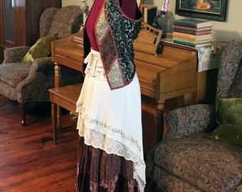 Gypsy Skirt and Vest, Pirate, Renaissance Costume, Boho, Hippie, Size Large