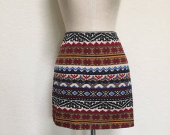 1990s TRIBAL Mini Skirt Vintage Grunge