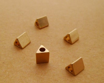 15pcs Dainty 6x5mm 14k Gold Triangle Geometry Tube Beads Spacers Minimalist for Leather Cord Bracelets Necklaces 01010621-1 ONLY 7 PACKS